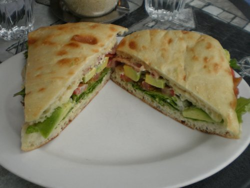 B.L.A.T. (bacon, lettuce, avocado, tomato, aioli on Turkish bread)