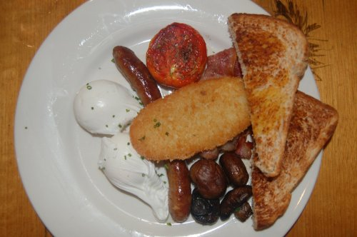 Jumbo breakfast with poached eggs