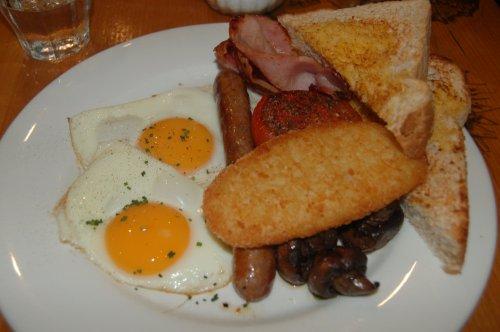 Jumbo breakfast with fried eggs