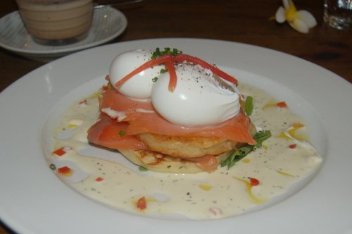 Corn & dill pikelets with poached eggs