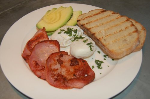 Poached eggs with sides of bacon and avocado