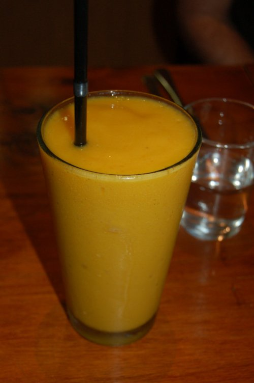 Orange, banana and mango frappe