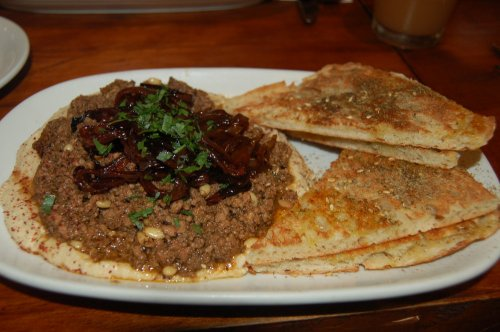 Spicy lamb mince on hommus