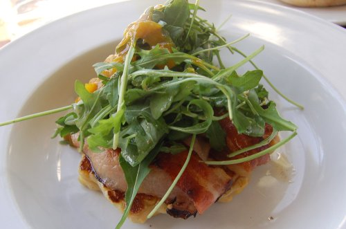 Corn & ricotta hotcake with bacon, rocket and green tomato relish