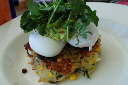 Corn and bacon hash with poached egg and avodaco