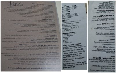 Breakfast and drinks menus
