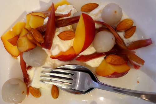 Nectarine, rose, rhubarb, lychee and fresh almonds