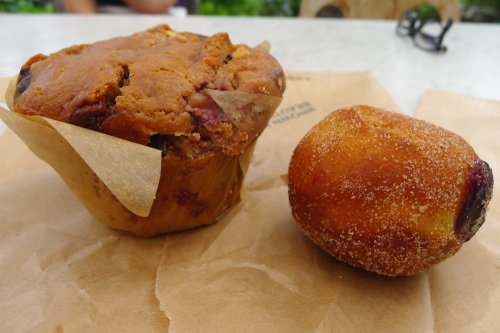 Triple berry and chocolate muffin and jam doughnut