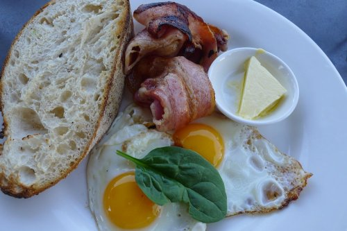 Berrima Ridge organic free-range fried eggs with sides