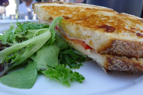 Leg ham, tomato and vintage cheddar toasted sandwich