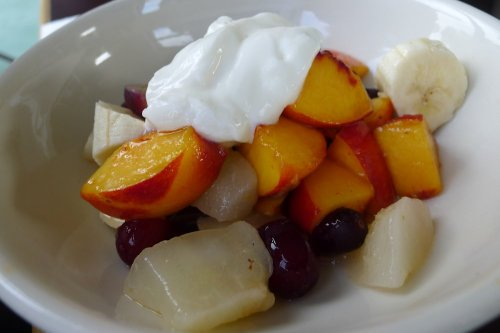 Poached and fresh summer fruits