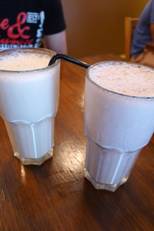 Banana milkshake and strawberry smoothie