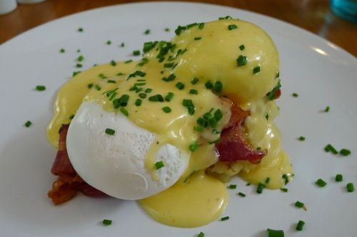 Chalkboard Benedict with bacon