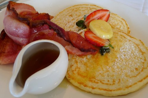 American style pancake stack with bacon