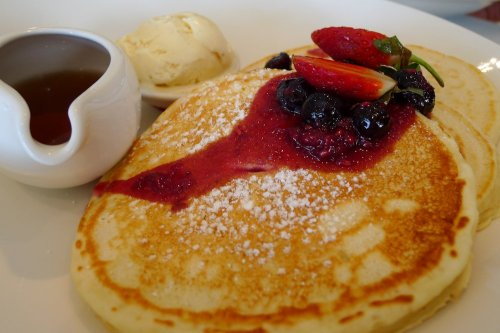 American style pancake stack with berry compote
