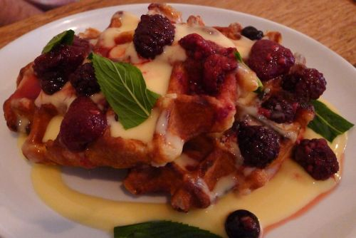 Poached berries and custard waffle