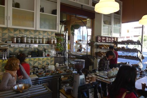 Busy bakery and café interior