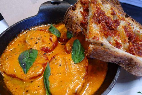 Tomatoes ala creme and nduja toast