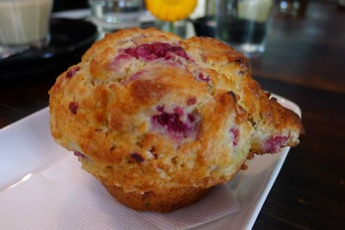 Raspberry, ricotta and lime muffin