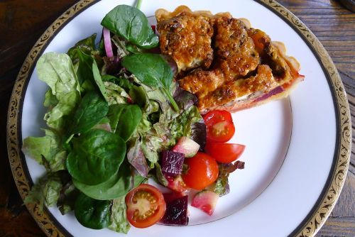 Beetroot, walnut and goats cheese quiche