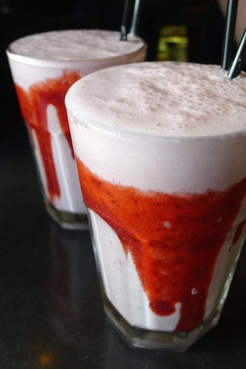 Strawberry and cream milkshake