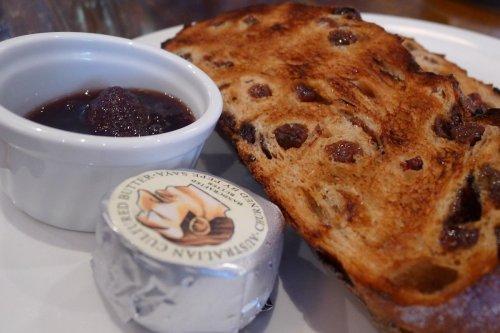 Raisin toast with Pepe Saya butter and strawberry & vanilla jam