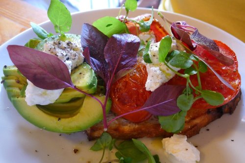 Toasted sourdough, roast tomato, avocado & goats curd