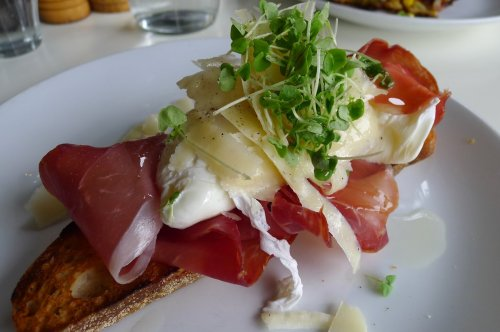 Prosciutto, poached egg, shaved pecorino