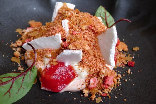 Strawberry ice cream with white chocolate and buttermilk