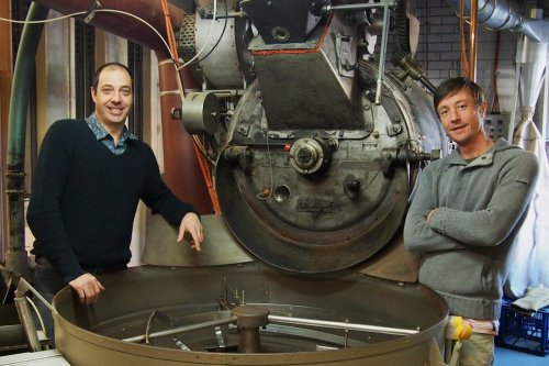 From left to right Aroma Managing Director Gavin Gam, Probat roaster Catarina and Q Grader James Craig