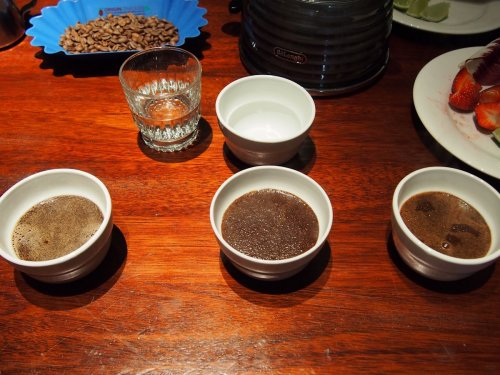 Ethiopian, Indian and Peruvian coffee sampling