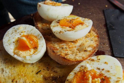 Soft boiled eggs on toast