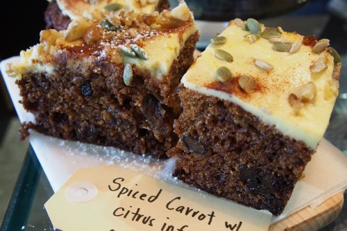 Spiced carrot cake with citrus infused cream cheese icing