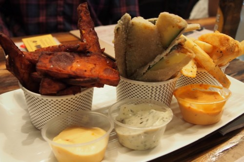 Sweet potato chips, zucchini chips and Our Famous Grill'd Chips