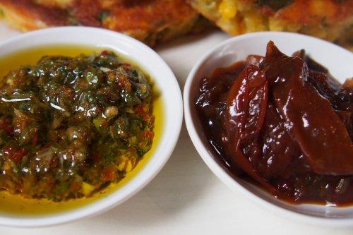 Chimichurri and tomato chilli jam