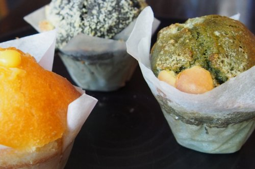 Yuzu, black sesame and green tea muffins