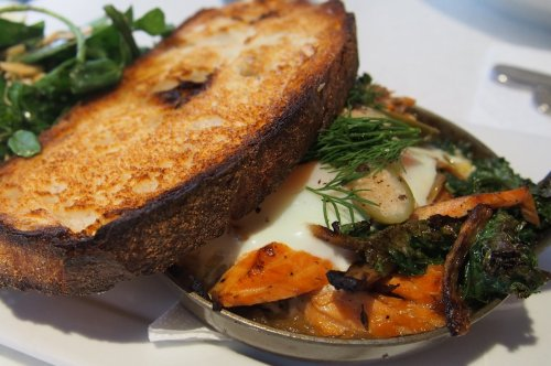 Smoked trout and roast fennel baked egg