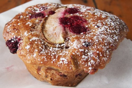 Raspberry and pear muffin