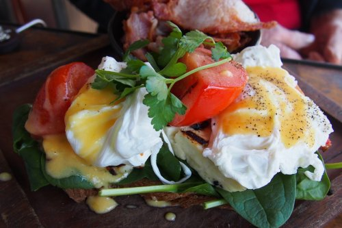 Grilled haloumi and poached eggs stack