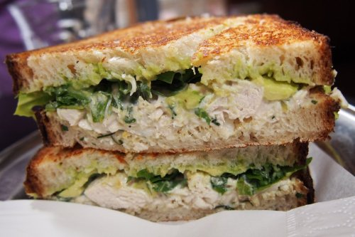 Poached free range lemon chicken sandwich