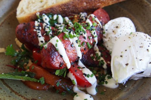 Grilled chorizo with fire roasted peppers