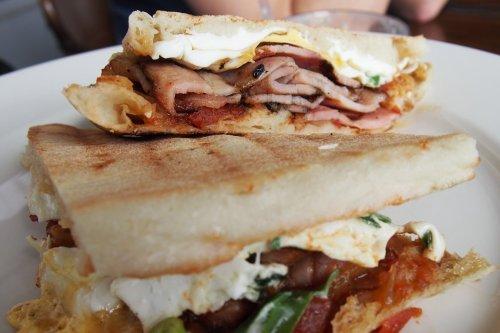Bacon & egg focaccia