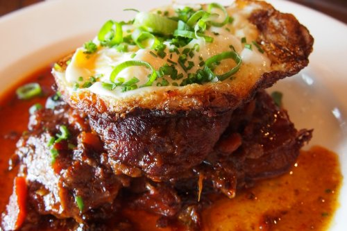 Chilli jam braised pork cheeks