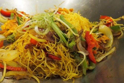 Wok tossed vegetarian Singapore noodles
