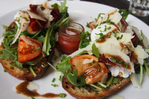 Parmesan, roast tomato and poached egg bruschetta