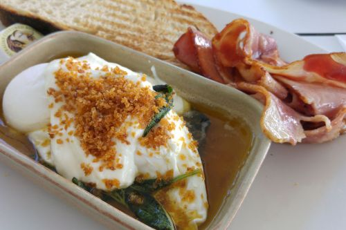 Poached eggs with sage burnt butter